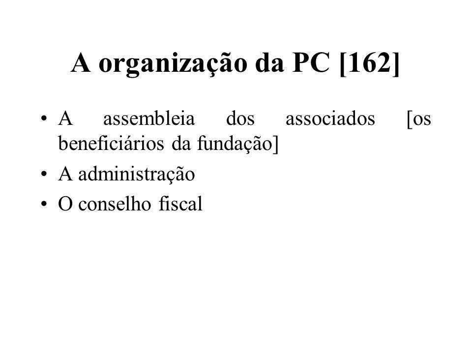 A organização da PC [162] A assembleia dos associados [os beneficiários da fundação] A administração.